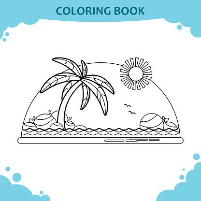kleurplaat boek voor kinderen het strand de zee met