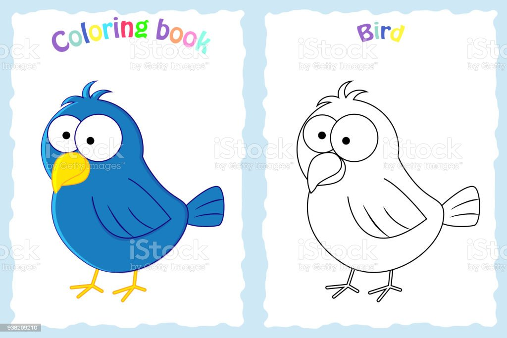Coloring Book Page For Preschool Children With Colorful Bird And