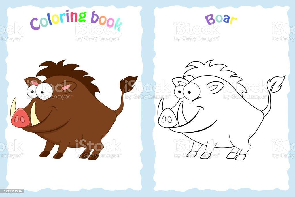 Kitap Sayfa Renkli Domuzu Olan Okul Oncesi Cocuklar Icin Boyama