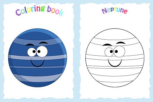 Renkli Neptun Ile Okul Oncesi Cocuklar Icin Kitap Sayfa Boyama
