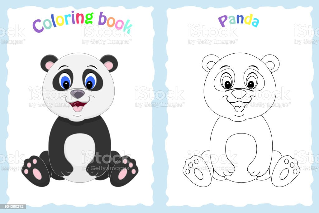 Coloring Book Page For Preschool Children With Colorful Panda An