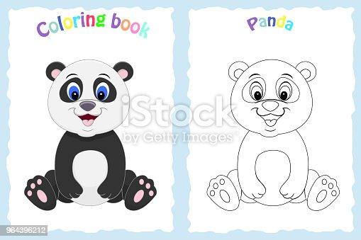 Kitap Sayfa Renkli Panda Ile Okul öncesi çocuklar Için Boyama Bir