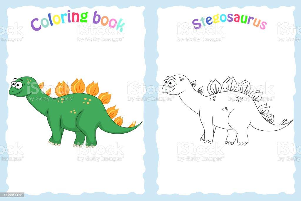 Renkli Stegosau Olan Okul öncesi çocuklar Için Kitap Sayfa Boyama