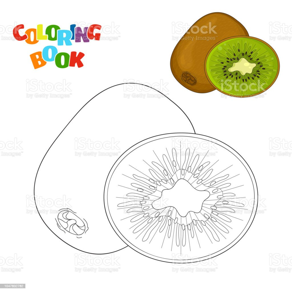 Coloriage Kiwi Fruit.Livre Coloriage Pour Les Enfants Dage Prescolaire Avec Contours De