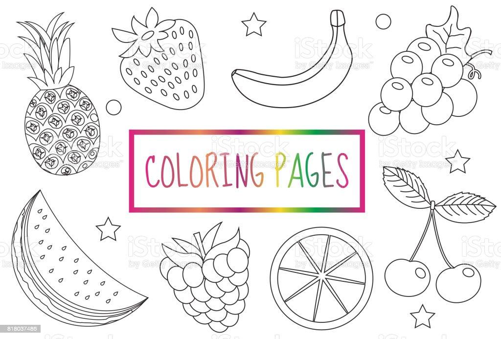 Kleurplaten Van Fruit.Boek Kleurplaat Fruit Set Schets Doodle Schetsen Van Stijl