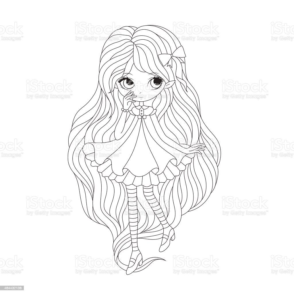 Coloring Book Page Girl Elf Stock Vector Art & More Images of 2015 ...