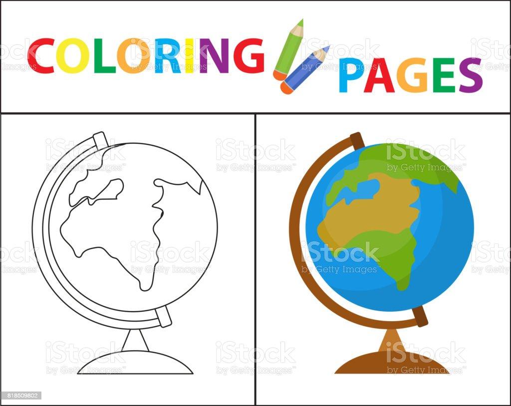Boyama Kitabı Sayfası Küre Kroki Anahat Ve Renk Sürümü çocuklar Için