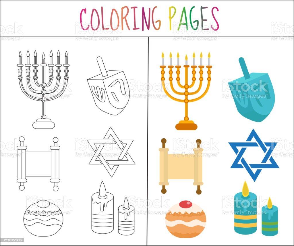 Ilustración de Coloring Book Page Hanukkah Set Sketch And Color ...
