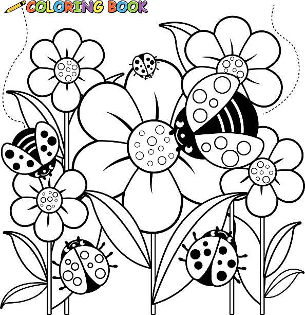 색칠놀이 예약 페이지 ladybugs 및 꽃 - 색칠하기 stock illustrations