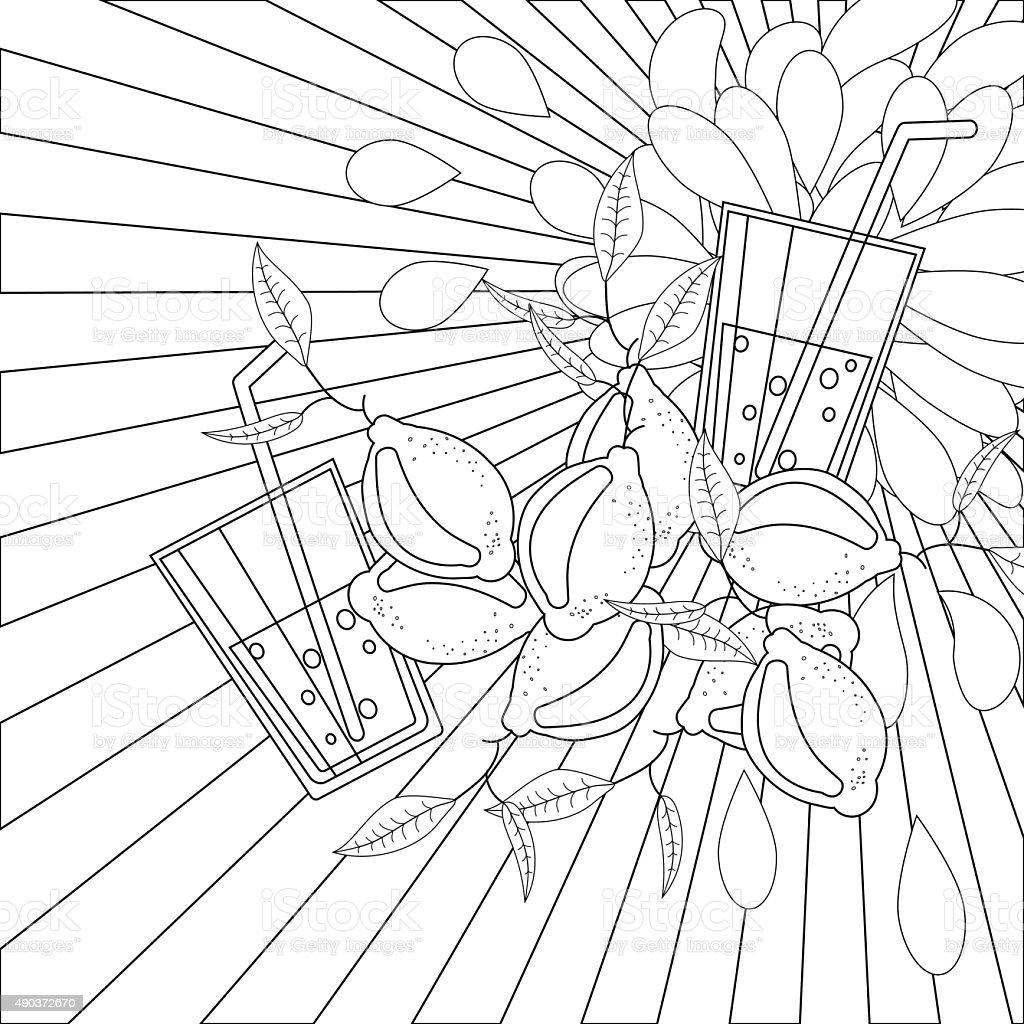 Libro Para Colorear Página Limones Y Jugo - Arte vectorial de stock ...