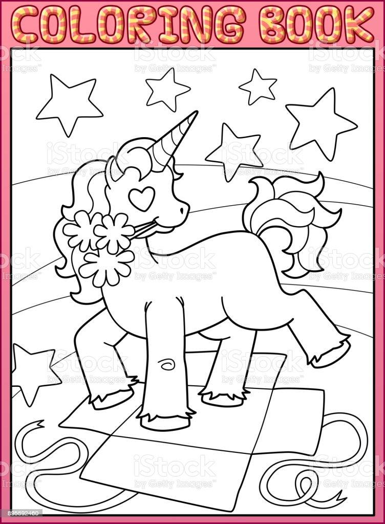 Boyama Kitabı Sayfası Küçük Tek Boynuzlu At Doğum Günü Partisi Stok