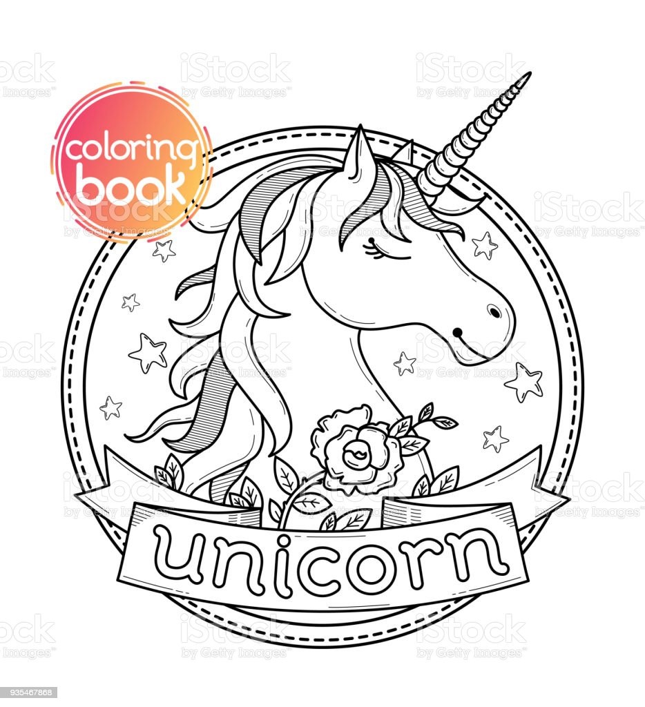 Coloring Book Page Or Print With Unicorn Stock Vector Art & More ...