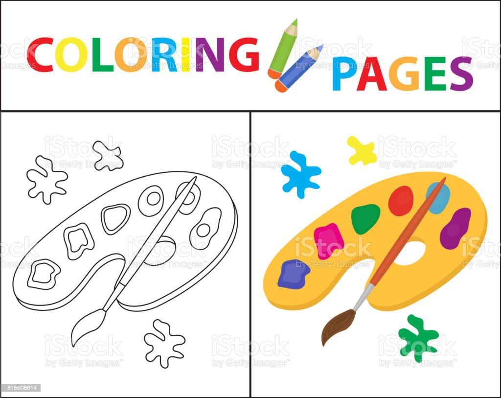 Livre De Coloriage Palette De Peinture Pinceau Version De Contour Et