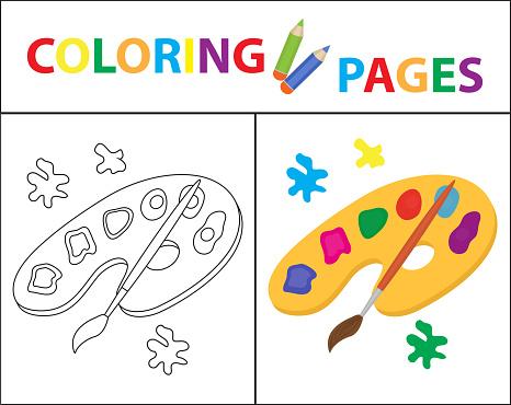 boek kleurplaat palet verf borstel schets omtrek en de