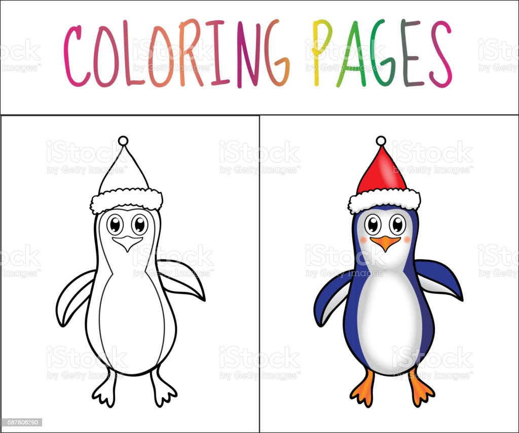 Coloring Book Page Penguin Christmas Sketch And Color Version Royalty Free