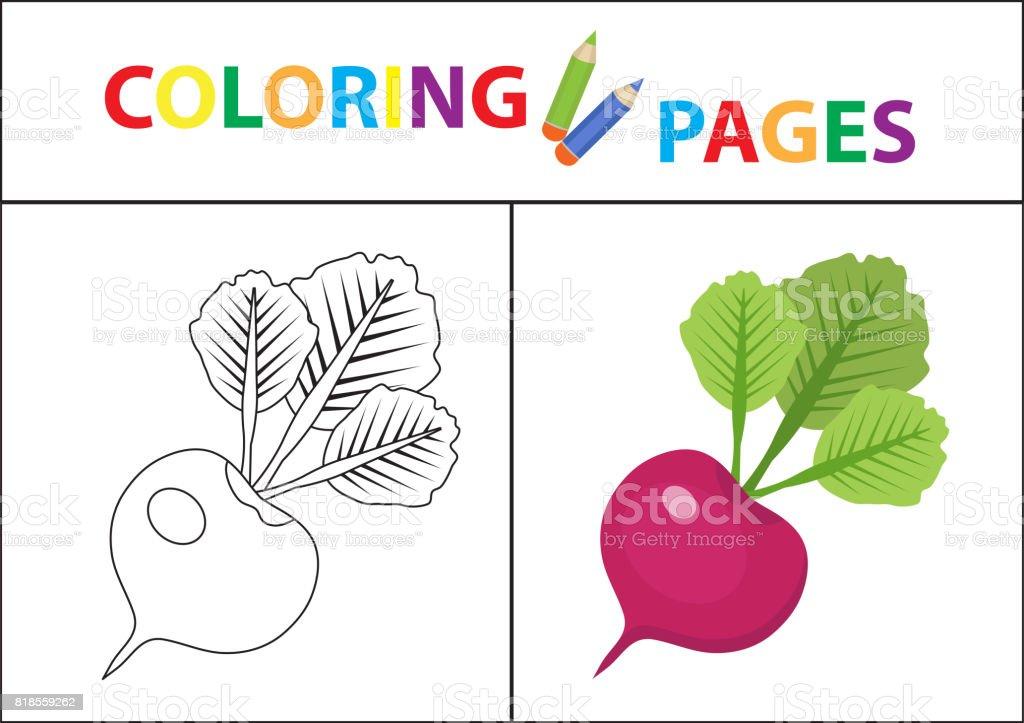 Ilustración de Página De Libro Para Colorear Versión Del Contorno Y ...