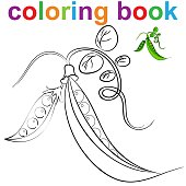 Coloring book page template with peas in pods, for kids .Vector illustration EPS 10.