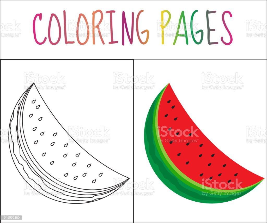 Coloring Book Page Watermelon Sketch And Color Version Stock Vector ...