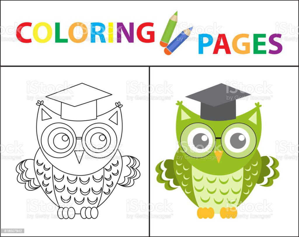 Coloring Book Page Wise Owl Wearing Glasses Sketch Outline And Color Version