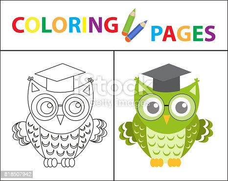 Coloring Book Page Wise Owl Wearing Glasses Sketch Outline And Color Version For Kids Childrens Education Vector Illustration Stock Art