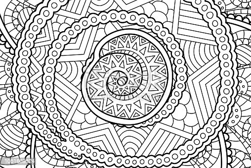 spiral coloring pages to print | Coloring Book Page With Abstract Art With Spiral Stock ...