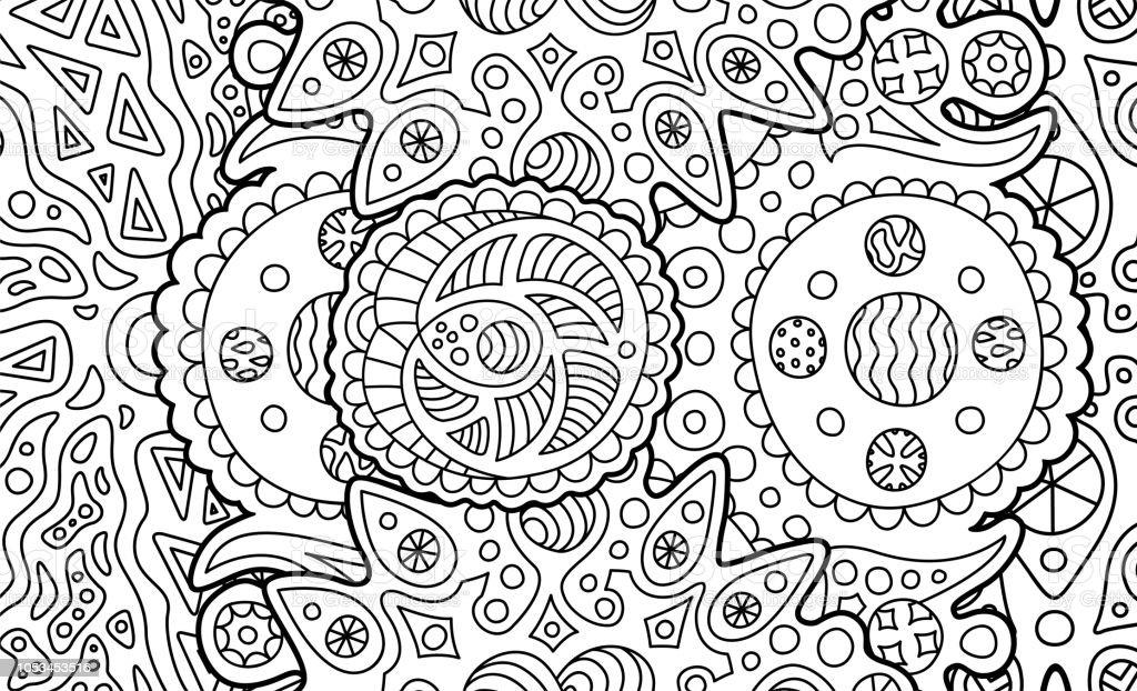 Vetores De Pagina De Livro Para Colorir Com Arte Abstrata Cosmica