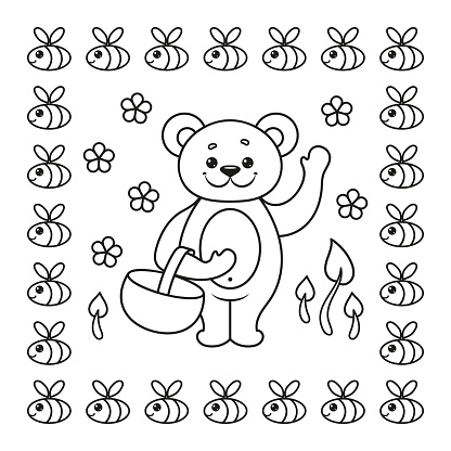 Coloring book page with bear and bee. Vector Illustration.