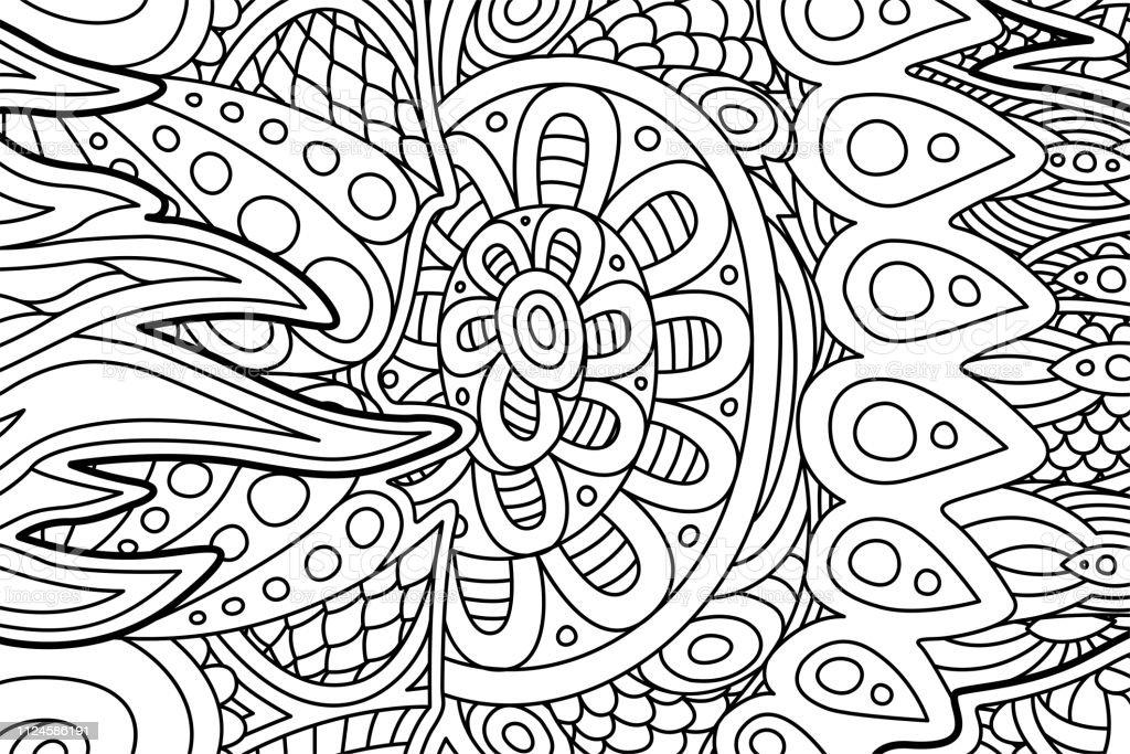 Boyama Kitabi Sayfasi Guzel Soyut Desenli Stok Vektor Sanati