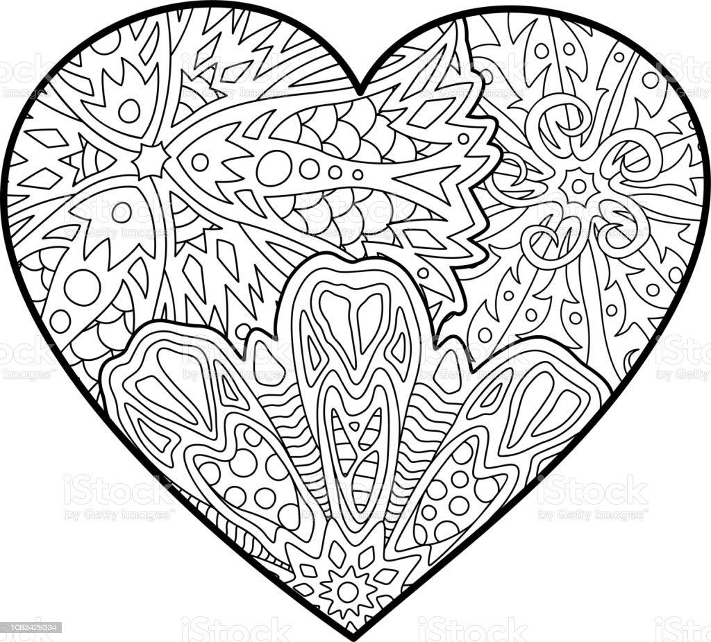 Boyama Kitabi Sayfasi Guzel Dekoratif Kalp Ile Stok Vektor Sanati