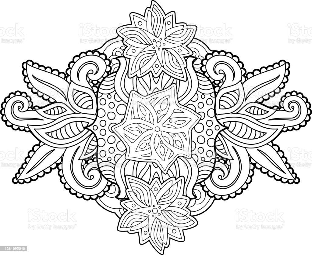 Ilustración De Página De Libro Para Colorear De Flores