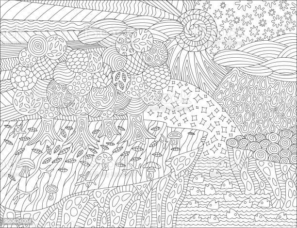 coloring book page with beautiful landscape vector id
