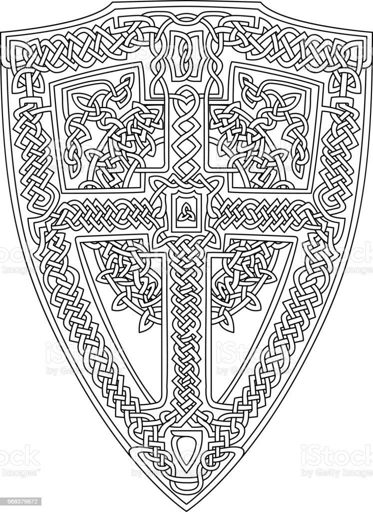 Ilustración de Página De Libro Para Colorear Con Escudo Celta y más ...