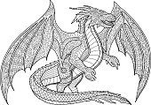 Adult coloring book page with beautiful dragon on white background