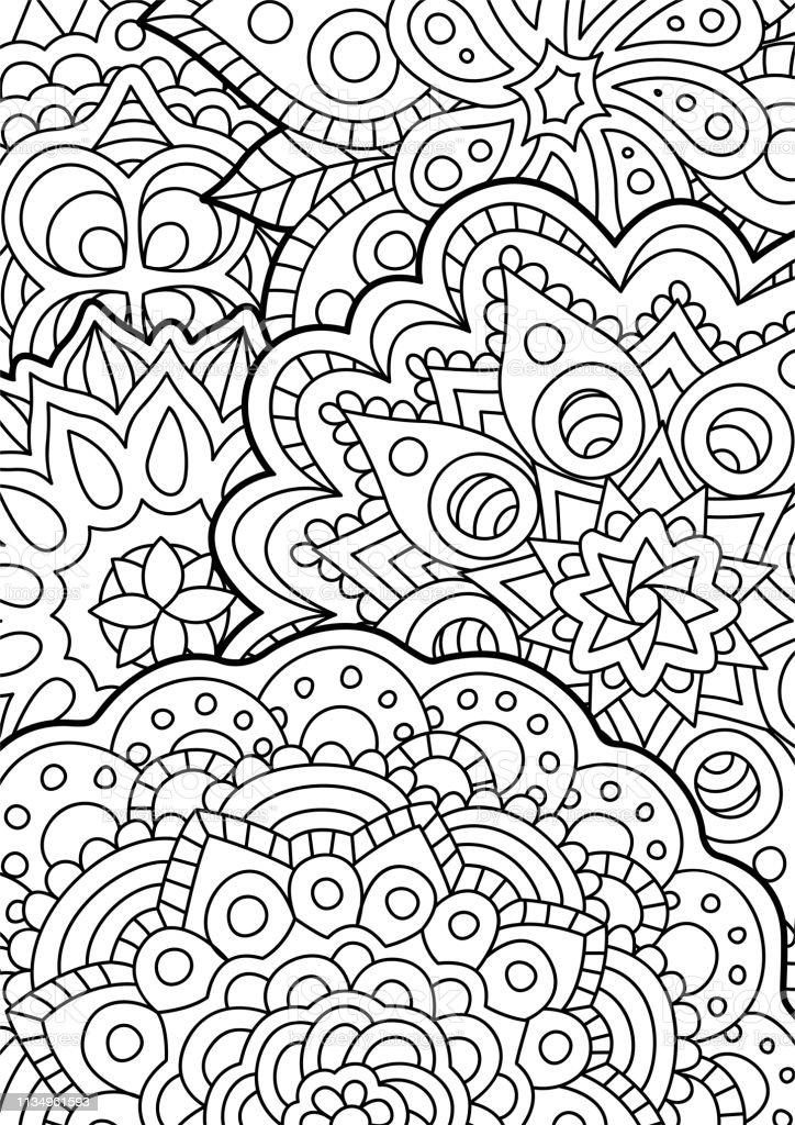 Dogu Soyut Desen Ile Boyama Kitabi Sayfasi Stok Vektor Sanati A4
