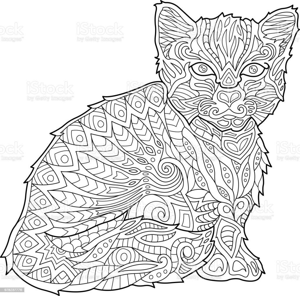 Ilustración de Página De Libro Para Colorear Con Gatito y más banco ...