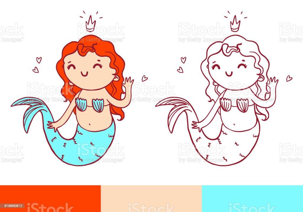 Ilustración de Página De Libro Para Colorear Con Sirenita Vector ...
