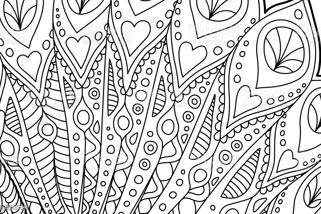 Beautiful coloring book page with monochrome linear art