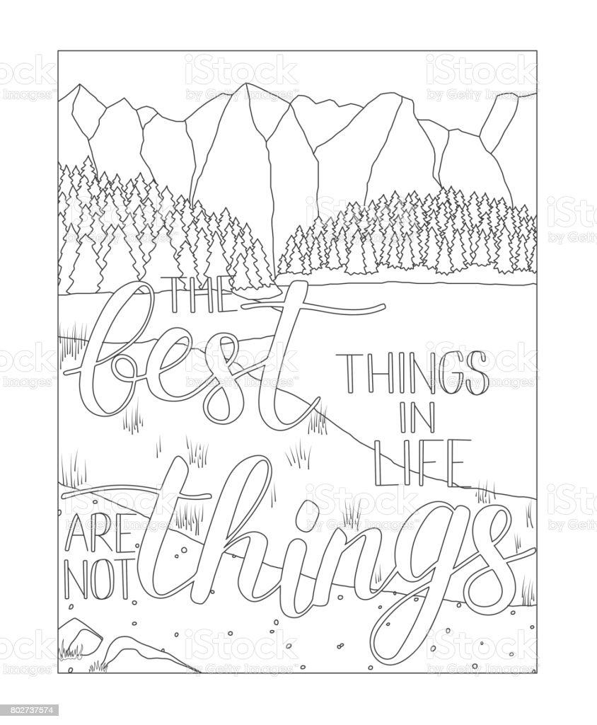 Coloring Book Page With Mountain And Lake Scenery Stock Vector Art
