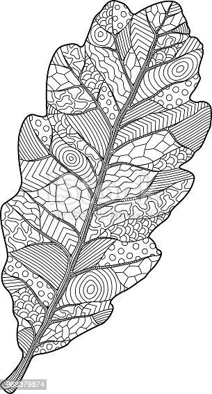Ilustración de Página De Libro Para Colorear Con Hoja De Roble y más ...