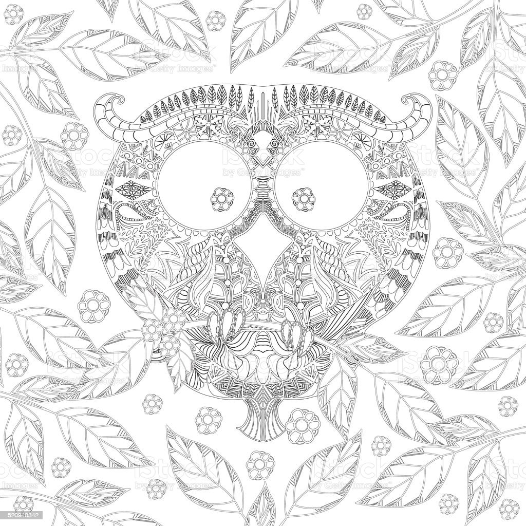 Coloring Book Page With Owl In Leaves stock vector art 520948342 ...