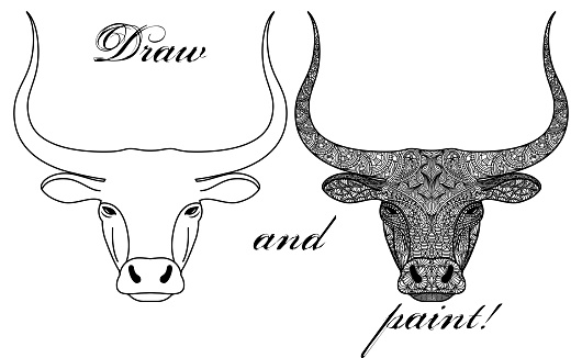 Coloring book page with patterned head of a bull or ox isolated on white background. Decoration for printing on fabric. Meditation and antistress in drawing and coloring.