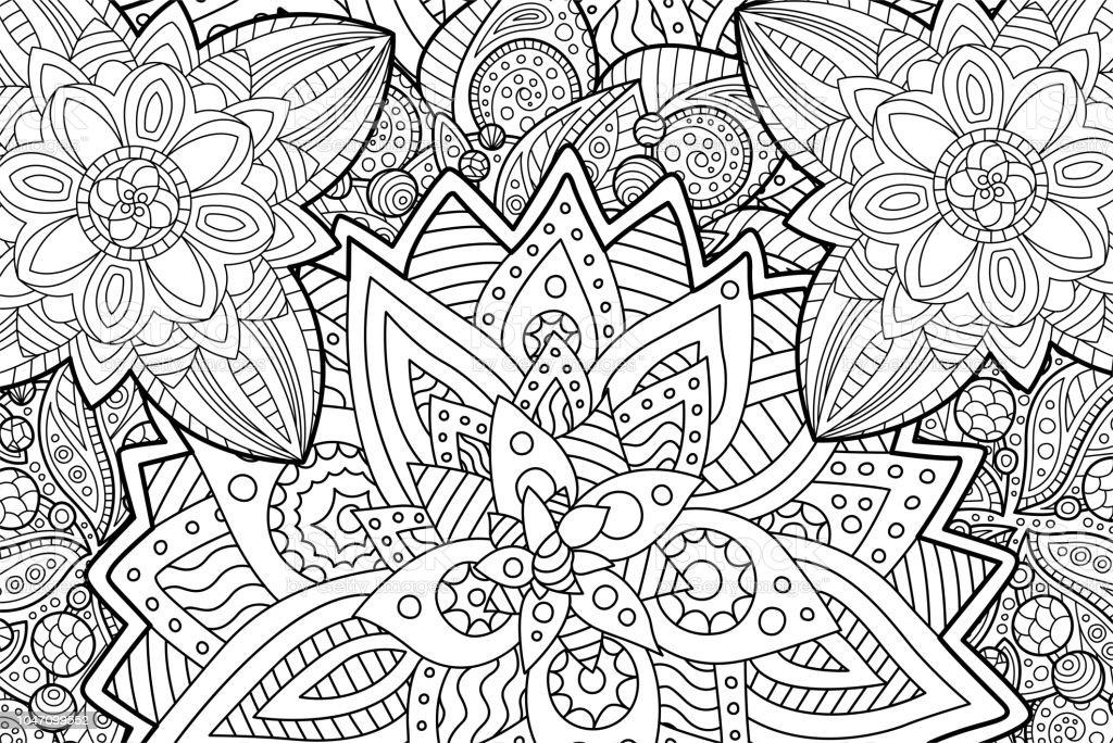Ilustración de Página De Libro Para Colorear Con El Patrón Floral De ...