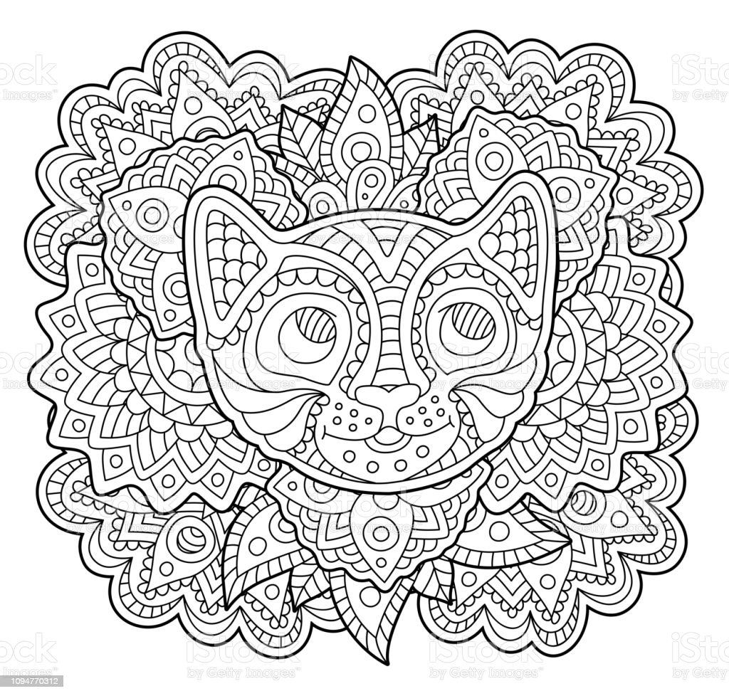 Stilize Kedi Yuz Boyama Kitabi Sayfasi Stok Vektor Sanati