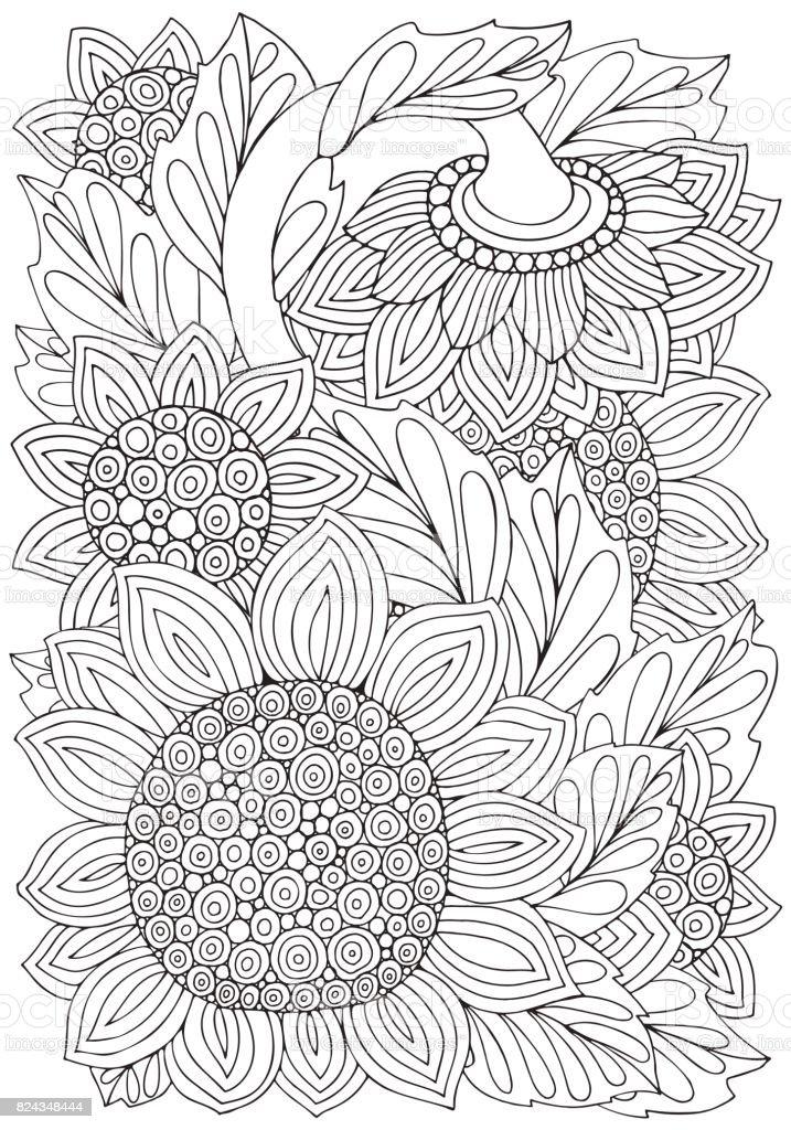 Kitap Sayfa Ayçiçeği Ve Yaprak Zentangle Tarzı Ile Boyama Siyah Ve