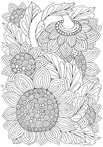 ilustrações de stock, clip art, desenhos animados e ícones de coloring book page with sunflowers and leaf in doodle style. black and white vector illustration. doodle, hand drawn, anti stress. a4 size. - adulto
