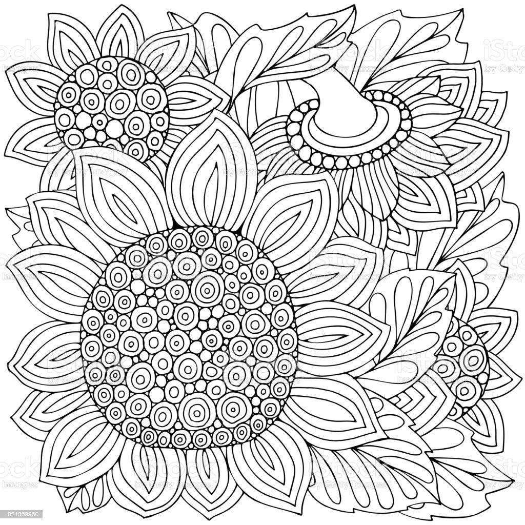 Ilustración de Para Colorear Página Del Libro Con Girasoles Y Hojas ...