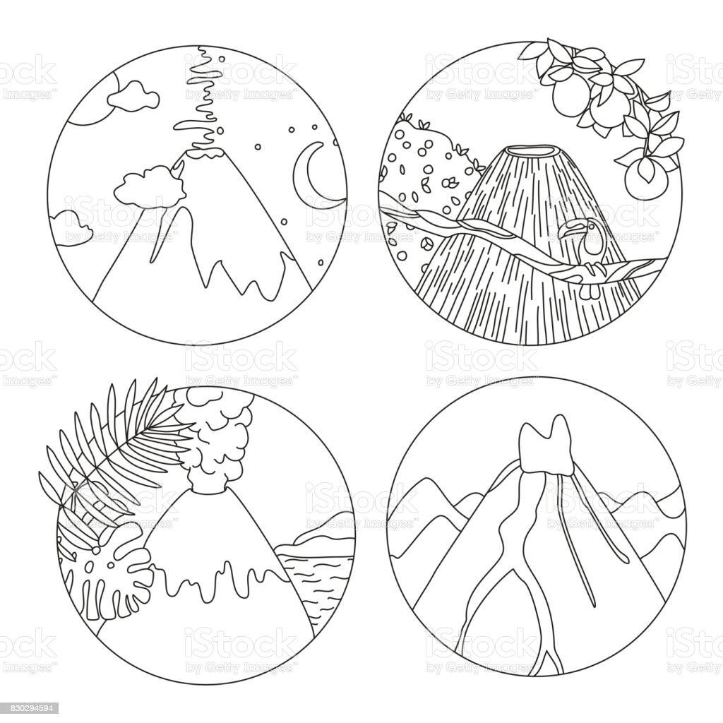 Boyama Kitabi Sayfasi Volkanlar Ile Stok Vektor Sanati Beyaz Nin