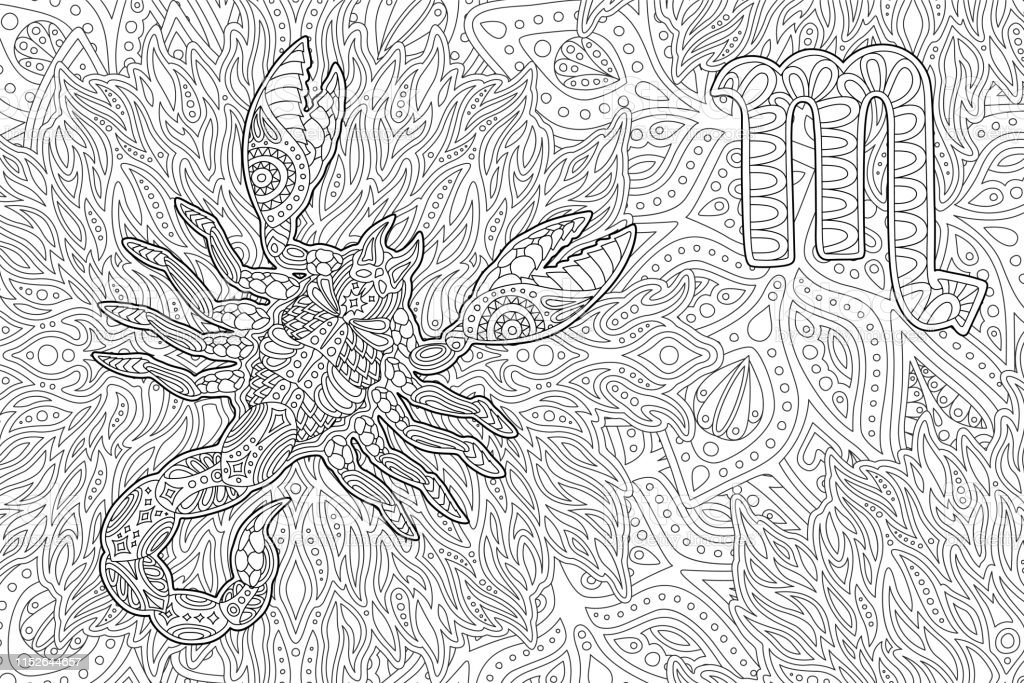 - Coloring Book Page With Zodiac Sign Scorpio Stock Illustration - Download  Image Now - IStock