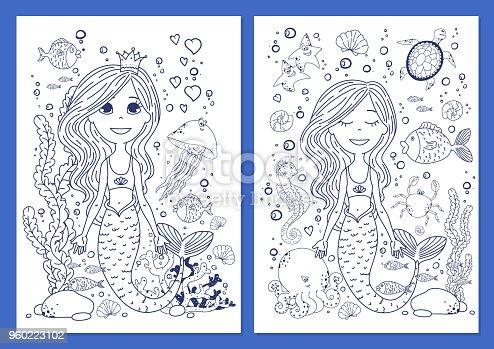 Ilustración de Libro Colorear Criaturas De Vida Submarina y más ...