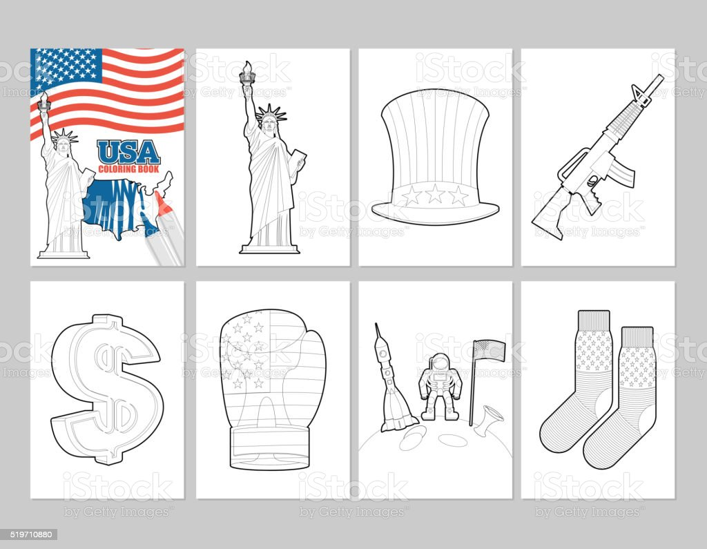 Ilustración de Estados Unidos Para Colorear Libro Patriótica ...